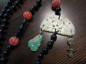 RARE Antique Chinese QING MUTTON FAT Miniature Medallion Jade Carved Necklace