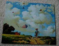 New Charles Wysocki Another Hard Day at the Office Metal Tin Sign Boy w Usa Kite