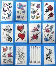 10 sheets temporary tattoo lotus flowers fox arrow fairy tramp stamp cover up