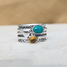 Turquoise Citrine Ring 925 Sterling Silver Spinner Ring Meditation Jewelry A268