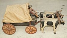 1920s Era Wood Hand Made & Painted Covered Wagon Primitive Folk Art BEAUTY LOOK