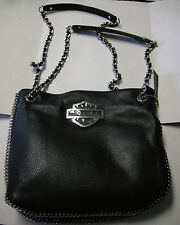 Harley-Davidson Purse, Black Leather, Double Handle or Crossbody, Brand New