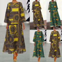 Coton Femme Loisir Manche Longue Impression Col Rond Ample Robe Dresse Maxi Plus
