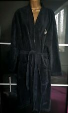 Playboy 100% cotton  black  Mens Womens Luxury Dressing Gown Bath robe S/M