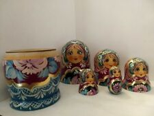5 Pc Hand Painted Wooden Indian Nesting Dolls Very Cool