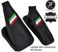 BLACK STITCH ITALIAN FLAG REAL LEATHER BOOT SET FOR ALFA ROMEO MITO 2008-2017