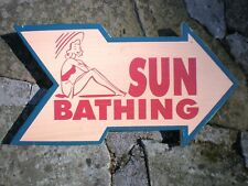 Sun Bathing Arrow Wood Sign-Pool Beach Tropical Seaside Sunbathing Wall Decor