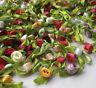 200pcs Small Satin Ribbon Flower Rose sewing wedding appliques U pick A2014