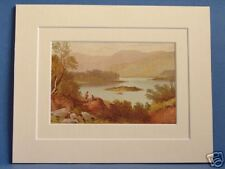 KILLARNEY LAKES SUPERB QUALITY VERY RARE 1879 ANTIQUE DOUBLE MOUNTED PRINT WARD