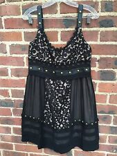 TEMPERLEY Womens Black Silk Lace Studded Sleeveless Leather A-Line Dress 8 US