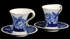 Naremoa Blue Pheony Teacup And Saucer Set Of 2