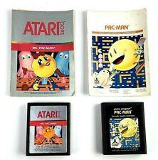 Pac-Man & Ms. Pac-Man Atari 2600 Video Game Cartridges and Manuals