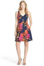 Trina Turk Hillary Floral Print Faille Fit & Flare Navy Pink Orange Dress 10