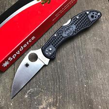 Spyderco Delica 4 VG-10 Wharncliffe Plain Edge Black FRN Folding Knife C11FPWCBK