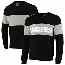 Oakland Raiders Cut And Sew Crew Neck Sweatshirt - Black - Mens