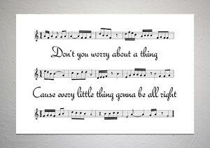 Bob Marley - Three Little Birds - Song Sheet Print Poster Art
