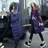 Womens Warm Winter Down Cotton Jacket Hooded Long Parka Coat Fur Collar Outwear