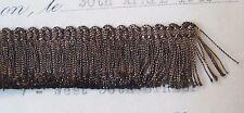 "1 yd Vintage UNUSED Tiny Mini French 5/8"" Dark Gold Metallic Thread Fringe Doll"