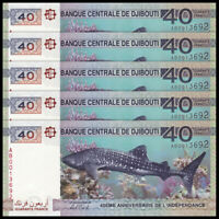 Lot 5 PCS, Djibouti 40 Francs, 2017, P-46, Independent 40th COMM., Banknote, UNC