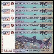 Lot 5 PCS, Djibouti 40 Francs, 2017, P-46, Independent 40th COMM., Banknote, UNC