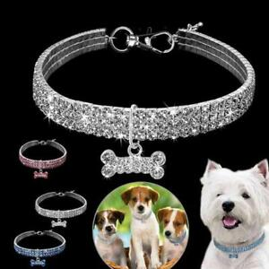 Crystal Necklace Pet Cat Dog Collars Bling Rhinestone with Bone Pendant Puppy