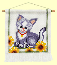 Cute Cat & Flowers Cross Stitch Kit |16cm x 18cm | with Hanger | Permin