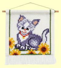 Cute Cat & Flowers Cross Stitch Kit  16cm x 18cm   with Hanger   Permin