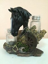 Westren Style Horse with Wagon Wheel Salt and Pepper Shaker Collectible