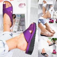 US Ladies Boho Comfy Platform Sandals PU Leather Bunion Corrector Shoes 4.5-11