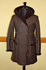 Max Studio Suede Leather Shearling Wool Brown Women Coat Hooded Sheepskin Vtg
