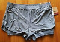 New REEBOK Women's XLarge Gray Stretch Logo Waistband Slim Running Shorts $45