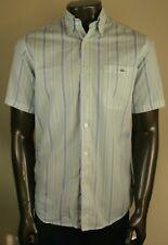 Lacoste Para Hombre Con Botones Mangas Cortas Camisa de algodón a rayas Excelente Uk Size M