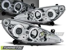 FARI ANTERIORI HEADLIGHTS PEUGEOT 307 04.01-06.05 ANGEL EYES CHROME  *2852
