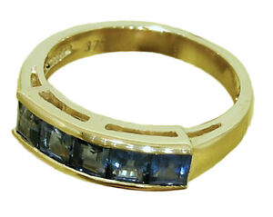 R164 Genuine 9K, 10K, 18K Solid Gold Natural Sapphire 5-stone Eternity Ring