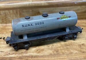 Vintage Lionel Train 2680, O Scale, Sunoco, Silver Tanker Car