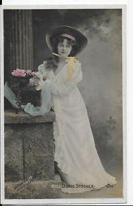 GENUINE VINTAGE GREETINGS POSTCARD,EDWARDIAN ACTRESS,DORIS STOCKER,RP,1910