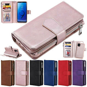 Zipper Flip Leather Wallet Case For iPhone 12 Pro Max mini 11 87 XS XR Removable