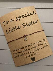 🌟Special Little Sister friendship Wish Star Charm bracelet Gift Present🌟