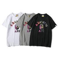 Bape A Bathing Ape T-shirt Tee Colorful Camo Monkey Head Crew Neck Short Sleeve