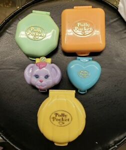 Lot of Six (5) Vintage 3 & 4 in. Bluebird Polly Pocket Compacts