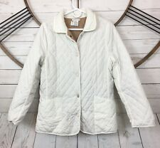 Tweeds Womens Size Large White Snap Down Quilted Jacket Faux Sherpa Lining