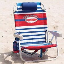 The Tommy Bahama Back Pack Beach Chair Folding Backpack Deck Chair Blue Stripe