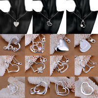Women Fashion Silver Plated Charm Love Double Heart Beautiful Necklace Pendant