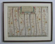 Warrington - Chester; Manchester - Derby: antique road map by John Ogilby, c1675