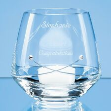 Personalised Engraved Diamante Glass Tealight Candle Holder Birthday Wedding