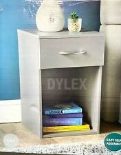 Grey Bedside Table With Drawer and Shelf Cabinet Side Table Storage Unit