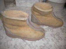 Australian JUMBUCKS Beige Ankle Boots Suede Leather Sherpa Sz 5.5 M Flat