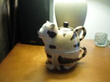 LARGE 2 CUP YELLOW TABBY CAT KITTEN CERAMIC TEAPOT MOM WIFE EASTER GIFT