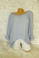 Italy Tunika Bluse Gr. 36 38 40 42 Shirt blogger Oversized Hemd blau Seide NEU