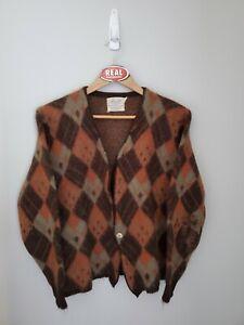 Vintage Jersild Mohair Cardigan Cobain Sweater Grunge Fuzzy Men's Small Argyle